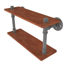 "Pipeline Collection 16"" Ironwood Double Shelf, Matte Gray"
