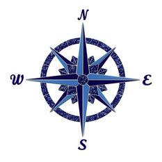 "Compass 1 Ceramic Swimming Pool Mosaic 24""x24"", Blue"