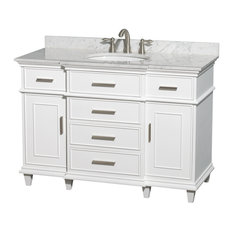 "Wyndham Collection 48"" Berkeley White Single Vanity and Carrera Marble Top"