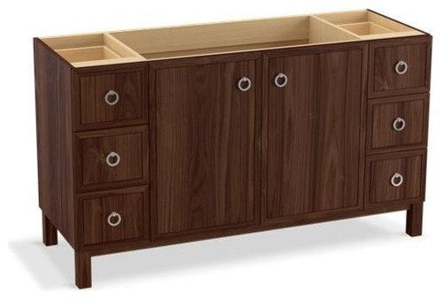 "Jacquard(TM) 60"" vanity with furniture legs, 2 doors and 6 drawers, split top dr - Bathroom Vanities And Sink Consoles"