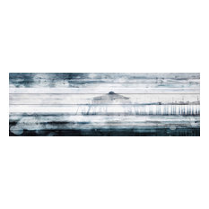 """Waterspotted Pier"" Print on White Wood, 60""x20"""