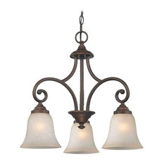 Mini-Chandelier with Brown Glass in Bronze Finish