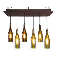Rustic Wine Bottle Chandelier, Black Cherry, No Bulbs, Suspended