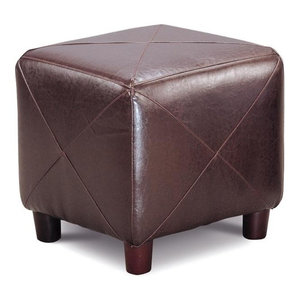 Coaster Contemporary Faux Leather Ottoman With Metal Base