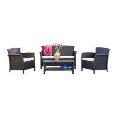 4-Piece Clearwater Outdoor Brown Wicker Sofa Set