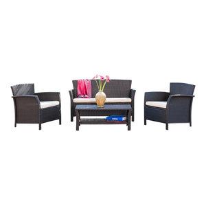 Amazing Delfina 2 Piece Outdoor Wicker Loveseat Sofa Set Tropical Pdpeps Interior Chair Design Pdpepsorg