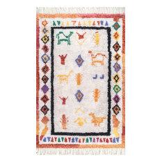 nuLOOM Hand-Tufted Tribal Diamond Gabbeh Tassel Area Rug, Ivory, 5'x8'