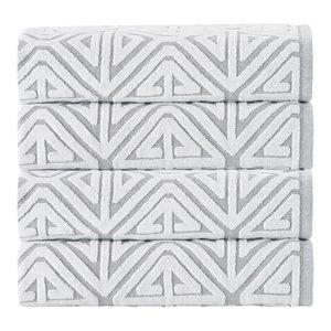 Glamour 4-Piece Turkish Cotton Bath Towel Set, Silver