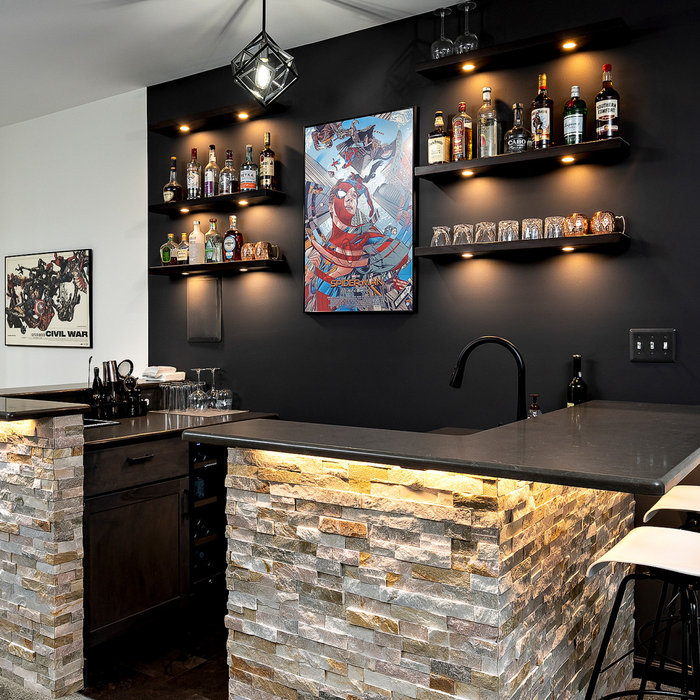 Custom Bar area with stack-stone