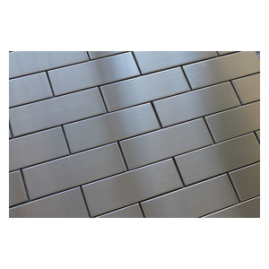 "Stainless Steel Brick Mosaic Tile, Chip Size: 2""x6"", 12""x12"""