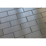 """Rocky Point Tile Co - Stainless Steel Brick Mosaic Tile, Chip Size: 2""""x6"""", 12""""x12"""" Sheet - Make a bold statement in your kitchen with a stainless steel backsplash from Rocky Point Tile. Each tile is 2""""  x 6"""" with a tight grout line. Use these tiles over an entire wall or as a poppy accent in your next renovation!"""