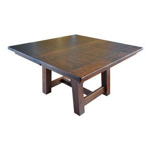 Rustic Hawthorne Farm House Square Table, Barn Floor Plank Top, Rustic Cherry, 3