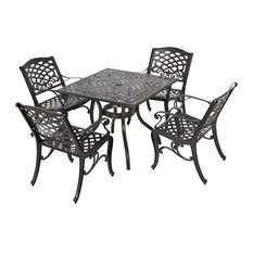 5-Pc Outdoor Dining Set in Hammered Bronze Finish