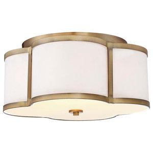 3-Light Semi-Flush Mount, Natural Brass