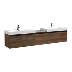 "Aquamoon Venice 98 1/4"" Double Square Sinks Modern Bathroom Vanity Set, Walnut"