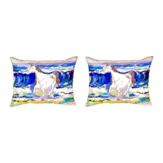 Pair of Betsy Drake Horse & Surf No Cord Pillows 16 Inch X 20 Inch