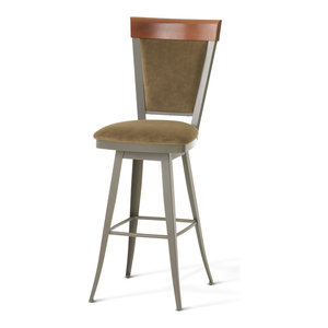 Amisco Cardin Upholstered Back Swivel Stool With Arms