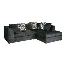 Ashby Corner Sofa, Black, Right Facing