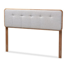 Baxton Studio Palina Light Gray Fabric Walnut Brown Finished Wood Full Headboard