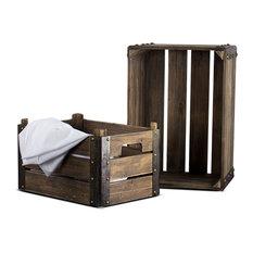 2-Piece Rectangular Rustic Wooden Storage Crates