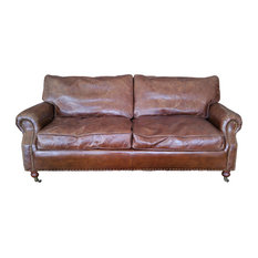 Hong Design 100 Leather Sofa With Decorative Nails Down Feather Cushion Sofas