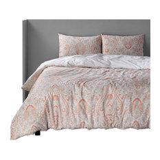 Grammercy Coral Cotton Double Slub Linen Weave Reversible Duvet Set, King
