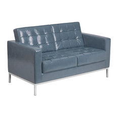 Hercules Lacey Series Contemporary Gray Leather Loveseat Stainless Steel Frame