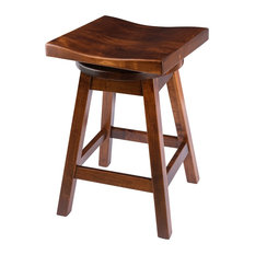 Rustic Swivel Saddle Stool, Maple Wood, Michael's Cherry, Bar Height, 30""