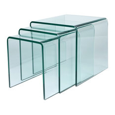 Glass Nesting Tables, Set of 3