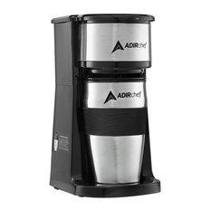Adirchef Black Grab N' Go Personal Coffee Maker With 15 Oz. Travel Mug, Black