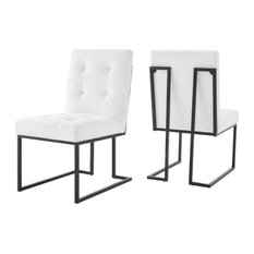 Modway Privy Upholstered Dining Chair in Black and White (Set of 2)