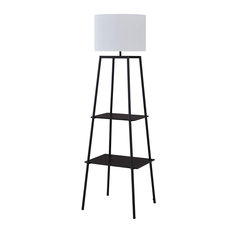 Floor Lamp, Black Metal Base With 2 Storage Shelves, Pull Chain Switch