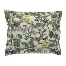 Springtime In The Butterflies Floral Cotton Pillow Sham, Standard