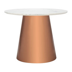 Dining Table Rounded Copper Finished Base And Round White Marble Top