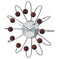 Wooden Atomic Clock, Silver/Wood
