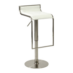 Euro Style Forest Bar and Counter Stool White Leather and Satin Nickel Bar