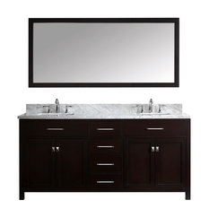 """Caroline 72"""" Double Vanity Cabinet Set, White Square, Without Faucet"""