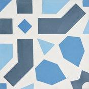 "8""x8"" Azilal Handmade Cement Tile, Navy Blue-Light Blue, Set of 12"