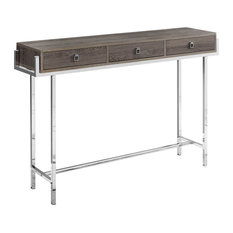 Offex 48-inchL Rectangular Accent Console Table With 3 Drawers - Dark Taupe