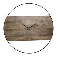 Amika Natural Mango Wood and Black Wall Clock
