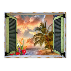 "Leo Kelly 'Tropical Window to Paradise IV' Canvas Art, 47""x35"""