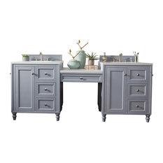 86-inch Double Vanity Set Silver Gray W/ Makeup Table 3 CM Classic White Quartz Top