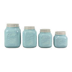 ZallZo   Ceramic Mason Jar Canisters, Set Of 4, Blue   Kitchen Canisters And
