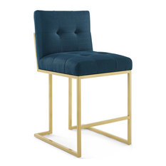 Blue Fabric Counter Stool Heidi Giselle Gold Counter Stool Luxe Glam Tufted