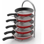 Brawbuy - Kitchen Cabinet Pantry Pan and Pot Lid Organizer Rack Holder - Great pan organizer to save cabinet and countertop space, stores up to 5 pans