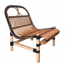 Rattan Lounge Chair, Black