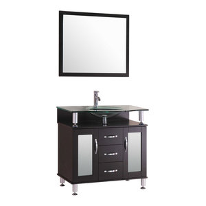 LessCare Vanity Cabinet LV1-30B With Sink Glass Top and Mirror