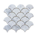 "9.5""x9.85"" Carrara White Grand Fish Scale Fan Shaped Mosaic Tile Polished"