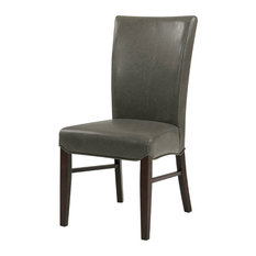 Milton Bonded Leather Chairs, Set of 2, Vintage Gray