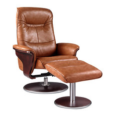 Artiva - Milano Leather Swivel Recliner and Ottoman, Brown - Recliner Chairs